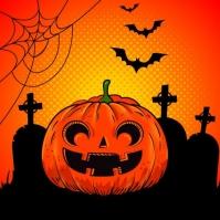 template happy halloween party design Instagram-opslag