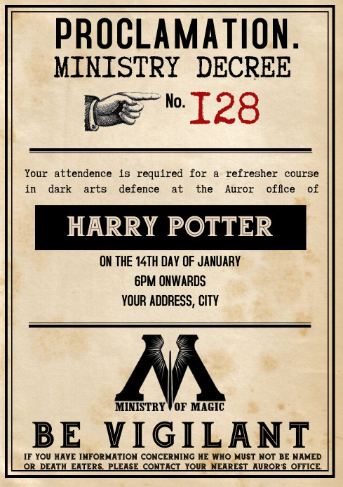 Template Harry Party Invitation A4
