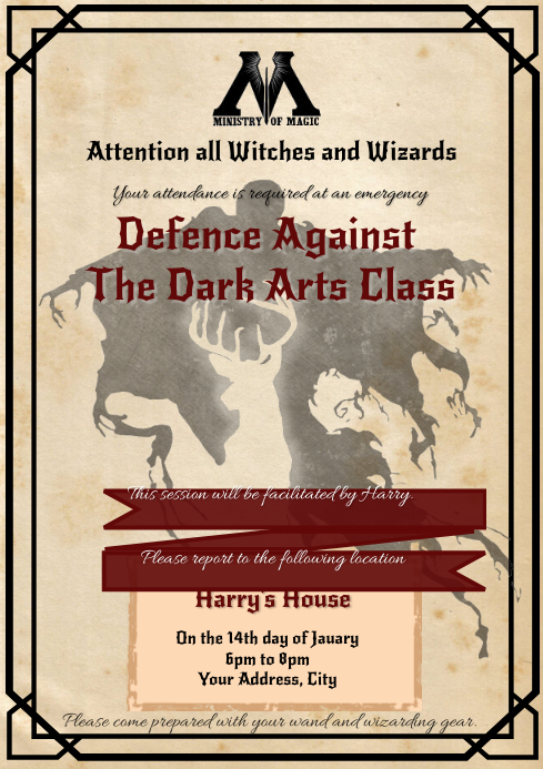 Template Harry Potter Defence Against Dark Ar Postermywall