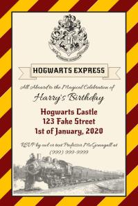 Template Harry Potter Hogwarts Express Birthd