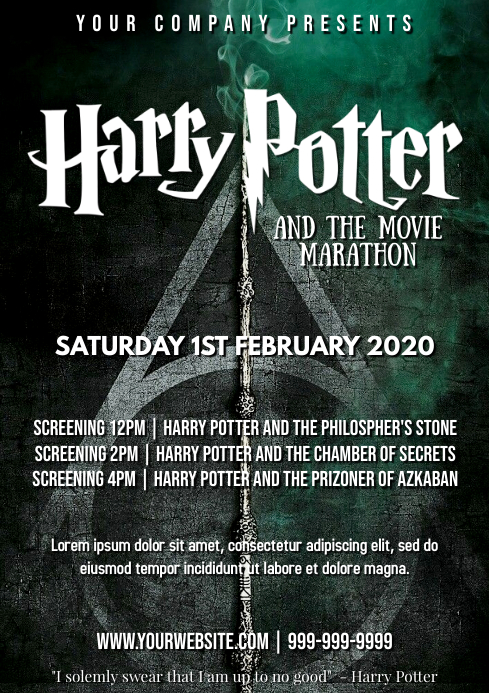 Template harry potter movie A4