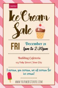 Template ice cream sale pink stripe cone