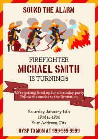 Template Kids Birthday Firefighter