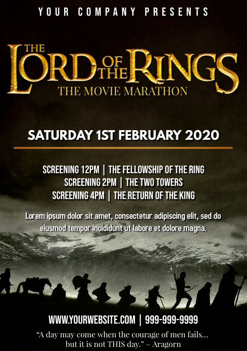 Template LOTR lord of the rings movie A4