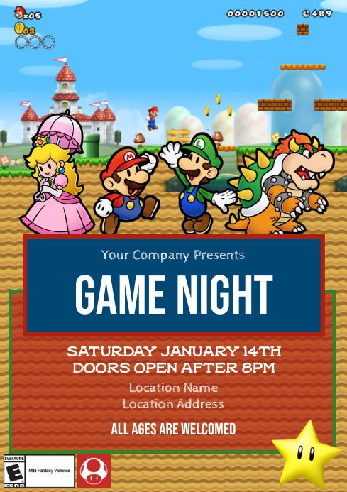 Template Mario Game Night A4