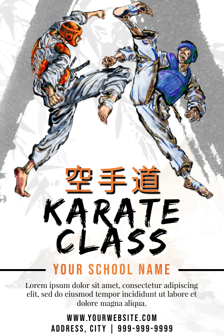 Template martial arts karate Cartaz