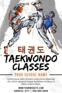 Template martial arts taekwondo Cartaz