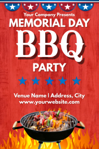 Template memorial day bbq Póster