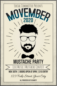 Template Movember Mustache Party Beige