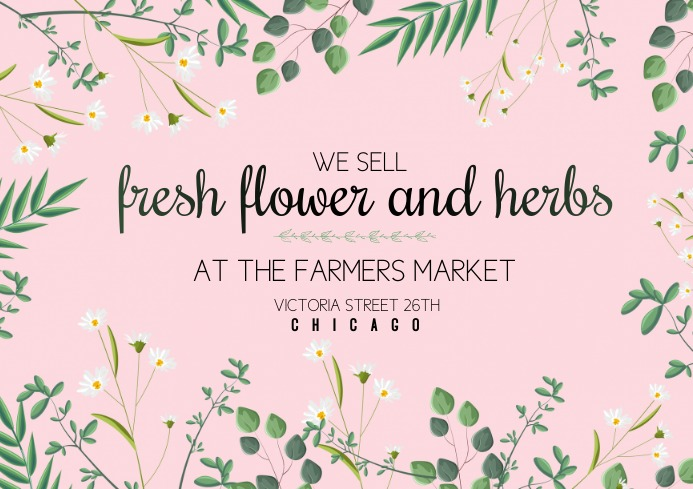 template posters flyer fresh flower and herbs A4
