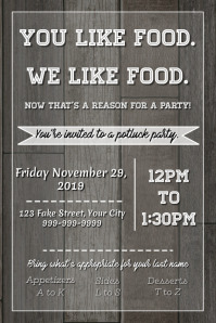 Template Potluck Party Rustic Poster