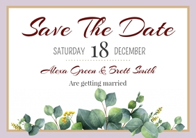 Template save the date leaves