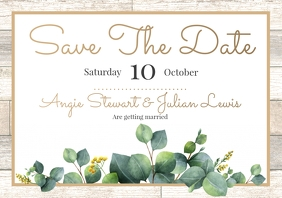 Template save the date leaves wood