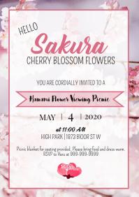 Template Spring Cherry Blossom Sakura Picnic