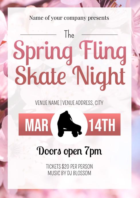 Template spring roller skate night A4