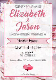 Template Spring Wedding cherry blossoms