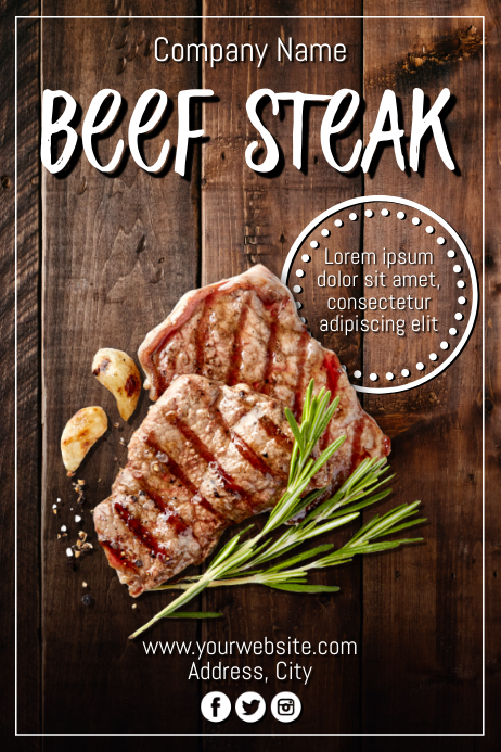 Template steak Poster