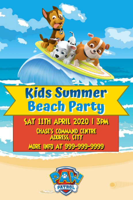 Template summer beach party paw patrol