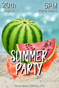 Template summer party Póster