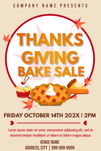 Template thanksgiving bake sale Poster