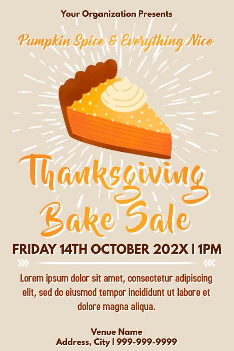 Template thanksgiving bake sale Plakat