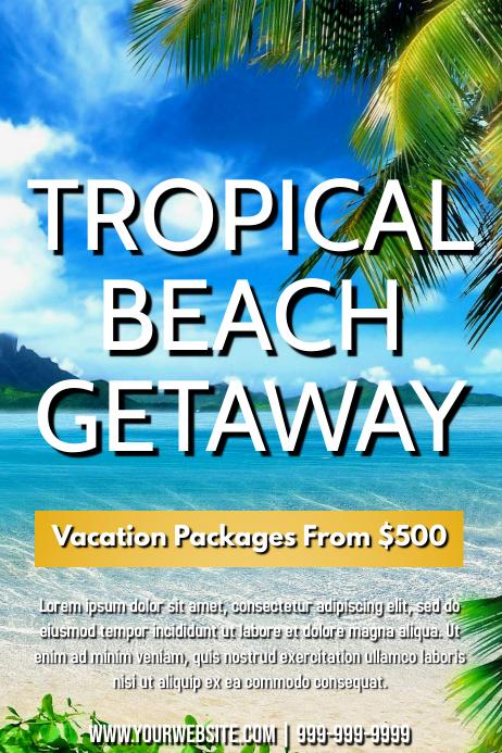Template travel beach vacation