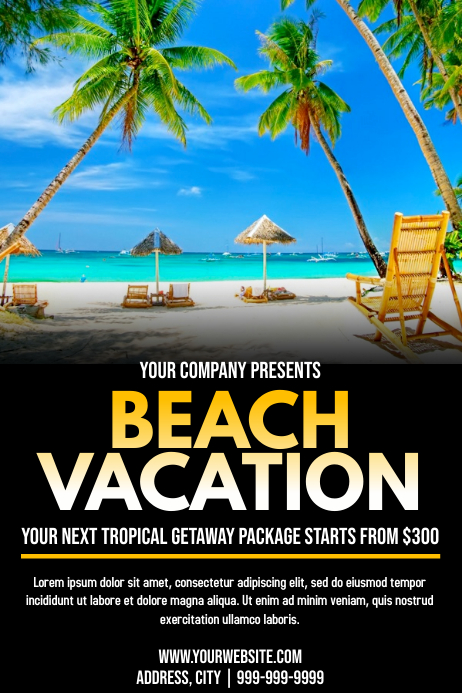 Template travel beach vacation Poster