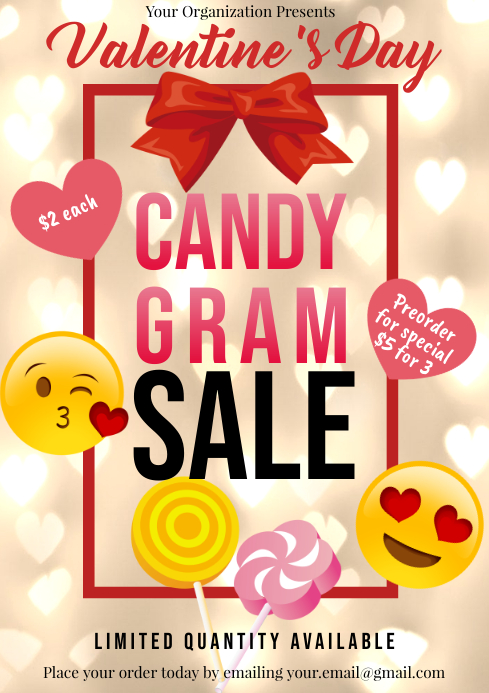 Template valentines candy gram sales