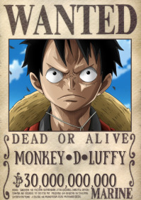 Template wanted poster one piece