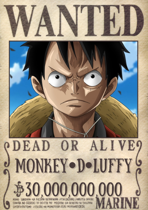 Template wanted poster one piece A4
