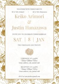 Template wedding gold chrysanthemum