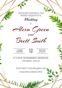 Template Wedding Gold Greenery