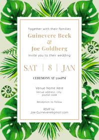 Template wedding invitation plants