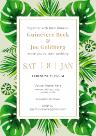 Template wedding invitation plants