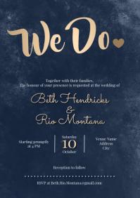 Template wedding invitation watercolo