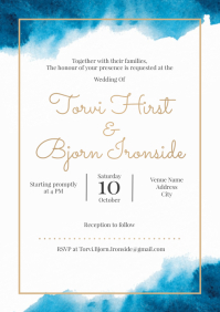 Template wedding invitation watercolour