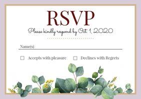 Template wedding rsvp leaves