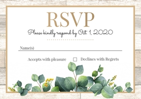 Template wedding rsvp leaves wood