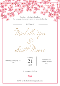 Template wedding sakura A4