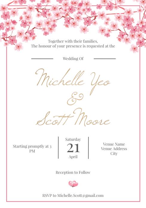 Template wedding sakura A4