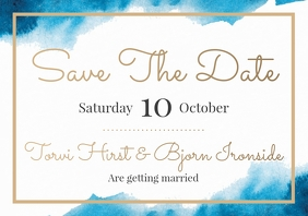 Template wedding save the date watercolour