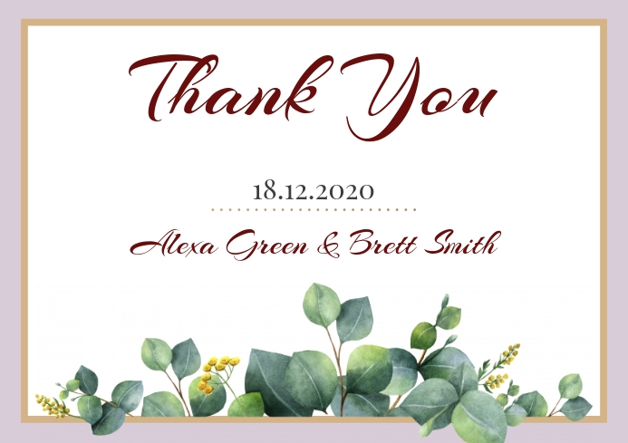 Template wedding thank you leaves
