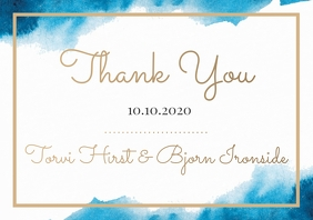 Template wedding thank you watercolour