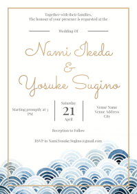 Template wedding waves watercolour