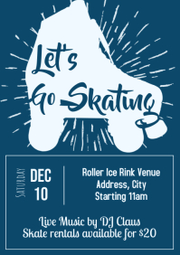 Template winter roller skating A4