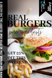 templateposter flyer real burgers Plakat