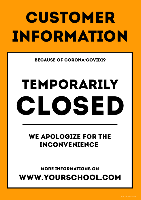 Temporarily Closed Corona Prevention Poster A4 template