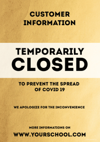 Temporarily Closed Corona Prevention Poster