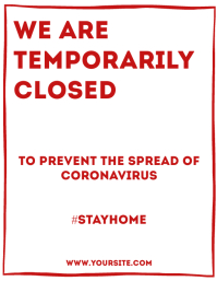 Temporarily closed flyer sign template