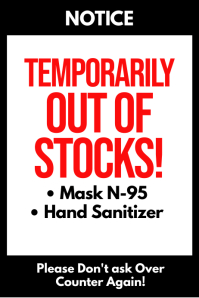 Temporarily Out of Stocks sign poster